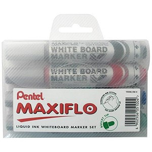 Image of Pentel Maxiflo Drywipe Marker / Bullet Tip / Assorted Colours / Pack of 4