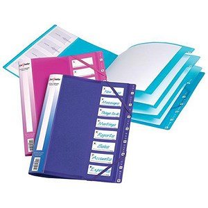 Image of Snopake Elastic 8-Part Files / A4 / Electra Assorted / Pack of 5