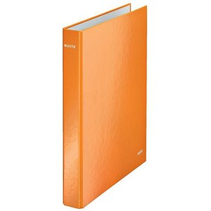 Image of Leitz WOW Ring Binder / 2 D-Ring / 40mm Spine / 25mm Capacity / A4 / Orange / Pack of 10