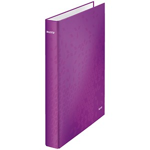 Image of Leitz WOW Ring Binder / 2 D-Ring / 40mm Spine / 25mm Capacity / A4 / Purple / Pack of 10