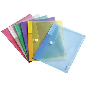 Image of Tarifold Color Punched Envelope / Polypropylene & Velcro / 316x240mm / A4 / Assorted / Pack of 12