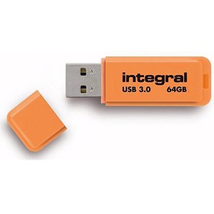 Image of Integral Neon USB 3.0 Flash Drive / 64GB / Orange