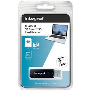 Image of Integral Memory Card Reader for SD & MicroSD Formats / USB 3.0 / Dual Slot