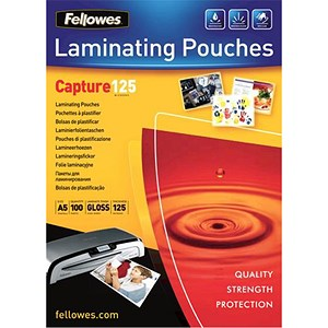 Image of Fellowes A5 Laminating Pouches / 125 Micron / Glossy / Pack of 100