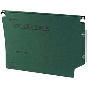 Image of Rexel CrystalFiles Classic Manilla Lateral Files / 330mm Width / 30mm Base / Green / Pack of 25