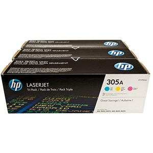 Image of HP 305A Laser Toner Cartridges - Cyan, Magenta and Yellow (3 Cartridges)