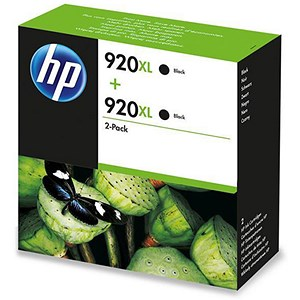 Image of HP 920XL High Yield Black Ink Cartridge (Twin Pack)