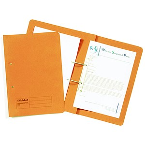 Image of Guildhall Transfer Spring Files 315gsm Capacity 38mm Foolscap Orange Ref 348-ORGZ [Pack 50]