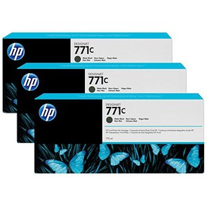 Image of HP 771C DesignJet Matte Black Ink Cartridge (3 Pack)