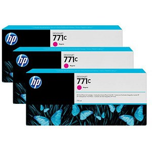 Image of HP 771C DesignJet Magenta Ink Cartridge (3 Pack)