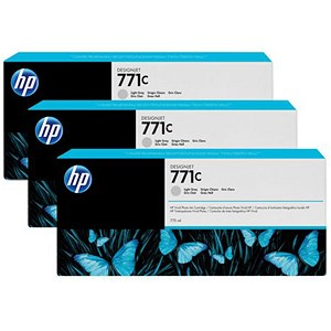 Image of HP 771C DesignJet Light Grey Ink Cartridge (3 Pack)