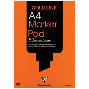 Image of Goldline Marker Pad / A4 / Bleedproof / 70gsm / 50 Sheets / Pack of 5