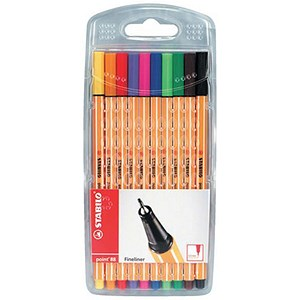Image of Stabilo Point 88 Fineliner Pen / Water-based / 0.8mm Tip / 0.4mm Line / Assorted Colours / Pack of 10