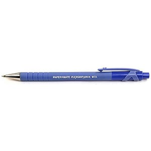 Image of Paper Mate Flexgrip Retractable Ball Pen / Medium / 1.0mm Tip / 0.4mm Line / Blue / Pack of 36