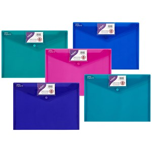 Image of Snopake PolyFile ID Wallet Files with Card Holder / Polypropylene / A4 / Electra Assorted / Pack of 5