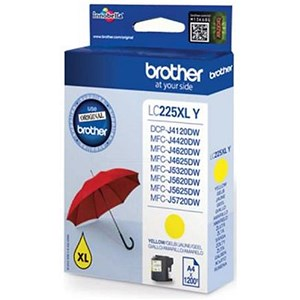 Image of Brother LC225XLY High Yield Yellow Inkjet Cartridge