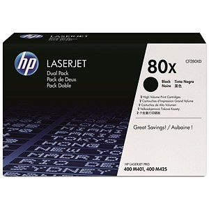 Image of HP 80X High Yield Black Laser Toner Cartridge (Twin Pack)