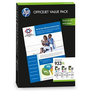 Image of HP 933XL OfficeJet Value Pack - Includes 3 Cartridges and Paper