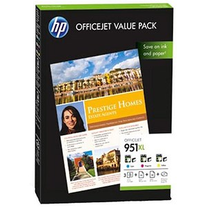 Image of HP 951XL OfficeJet Value Pack - Includes 3 Cartridges and 75 Sheets of A4 Paper