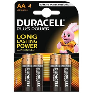 Image of Duracell Plus Power Alkaline Battery / AA / Pack of 4