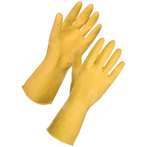Image of Medium Rubber Gloves / Yellow / Pair