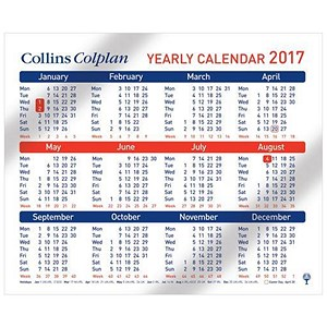 Image of Collins Colplan Yearly Calendar - 210 x 260mm