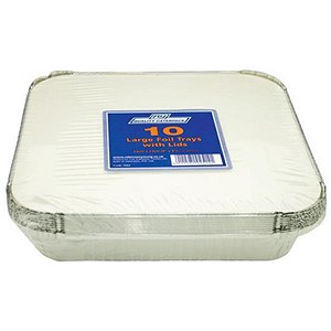Image of Caterpack Foil Food Containers with Lids / W230xD230mm / Pack of 10