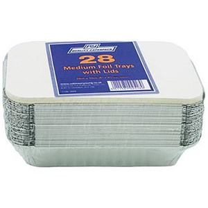 Image of Caterpack Foil Food Containers with Lids / W200xD100mm / Pack of 28