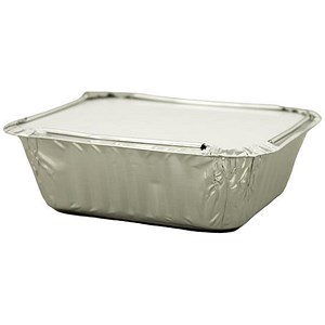 Image of Caterpack Foil Food Containers with Lids / W125xD100mm / Pack of 46