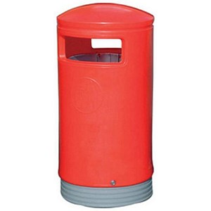 Image of Outdoor Hooded Bin - Red