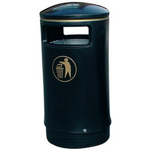 Image of Outdoor Hooded Bin - Black & Gold