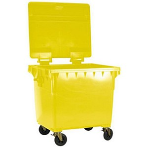 Image of Four-Wheeled Bin / 770 Litre / 55kg / W1350xD770xH1360mm / Yellow