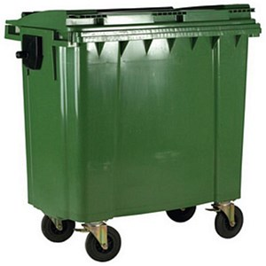 Image of Four-Wheeled Bin / 1100 Litre / 67kg / W1400xD1200xH1450 / Green