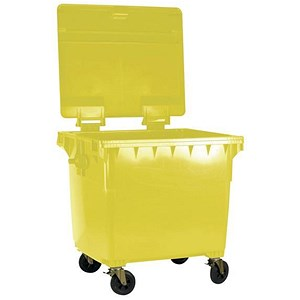 Image of Four-Wheeled Bin / 1100 Litre / 67kg / W1400xD1200xH1450 / Yellow