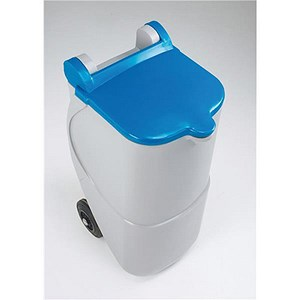 Image of Designer Recycling Wheelie Bin / 90 Litre / Blue Lid
