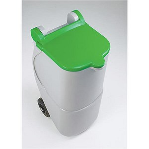 Image of Designer Recycling Wheelie Bin / 90 Litre / Green Lid