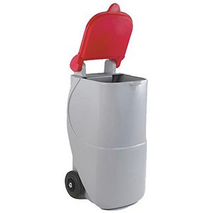 Image of Designer Recycling Wheelie Bin / 90 Litre / Red Lid