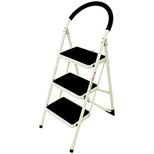 Image of Step Ladder / 3 Tread / White Frame