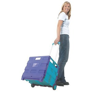 Image of Folding Container Trolley - Blue/Green
