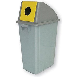 Image of Paper Recycling Bin / 58 Litre / Yellow Lid