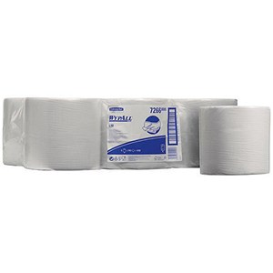 Image of Wypall L10 Wipers Centrefeed Rolls / 1-Ply / White / 6 Rolls