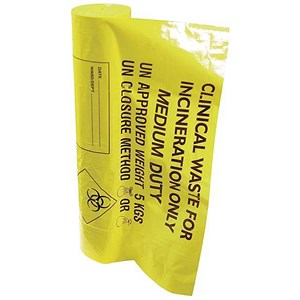 Image of Clinical Waste Bags / Medium Duty / 8kg Capacity / Yellow / Pack of 50
