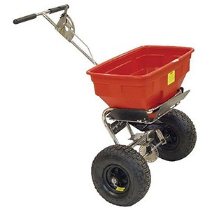 Image of Salt Spreader / Coverage 3m / Capacity 36kg / Pneumatic Tyres / Red