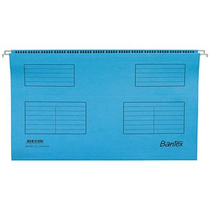 Image of Bantex Flex Kraft Suspension Files / V Base / 15mm to 30mm Capacity / A4 / Blue / Pack of 25
