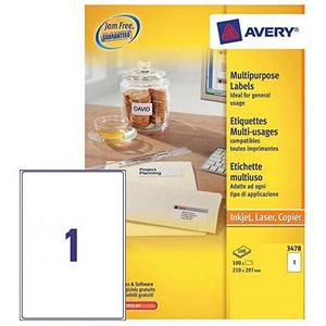 Image of Avery White Multifunctional Labels / 1 per Sheet / A4 / 210x297mm / White / 3478 / 100 Labels