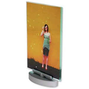 Image of Deflecto Portrait Swivel Sign Holder / A5 / Clear