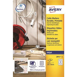 Image of Avery Cable Markers / Inkjet / Tear-proof Foil / 120 Labels