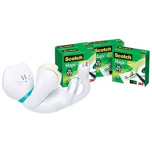 Image of Scotch Magic Tape Cat Dispenser + 4 Scotch Magic Tapes (19mm x 33mm)