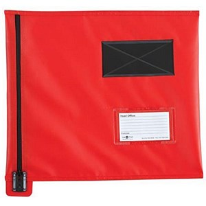 Image of A4+ Flat Mailing Pouch with Lockable Zip / Red / 355x 386mm