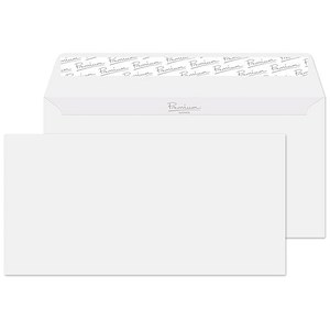 Image of Blake Premium DL Wallet Envelopes / Wove / Brilliant White / Peel & Seal / 120gsm / Pack of 500